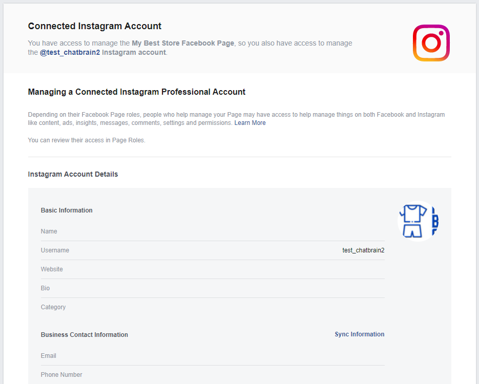 Instagram-Connected to FB
